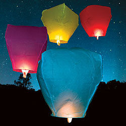 SKY LANTERNS ASSORTED COLOURS £2.00 EACH OR 3 FOR £5.00